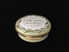 "Halcyon Days Enamel English Trinket Box ""Vrai Amour Ne Se Change""-Tiffany  00004000  #2451"