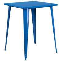 Flash Furniture Square Bar Height Blue Metal Indoor-Outdoor Table, 31.5''