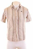 KAPPA Mens Shirt Short Sleeve Small White Striped Cotton  KJ02