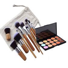 11 Bamboo Brush Set   15 Colors Contour Face Cream Makeup Concealer Palette
