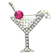 Party Cocktail Martini Glass Pin Brooch Pink  Rhinestones Fashion Jewelry p20