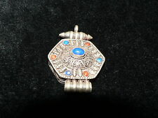 Vintage Pendant Silver Turquoise Coral Asian Theme Made in Nepal Design Jewelry