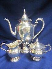 Vtg Gorham Puritan Sterling Silver 3 Piece Coffee Set Coffee Pot Creamer Sugar
