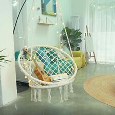 New listing Hammock Chair with Lights Durable Macrame Hanging Chairs with Hardware Kits