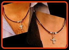 Personalized Leather Couple Necklaces,protection silver Cross.Couple gift