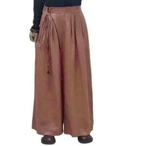 Womens Solid High Waist Lace Up Flax Linen Trousers Casual Loose Wide Legs Pants