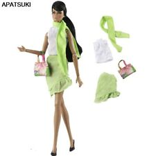 """1Set Green Outfits for 11.5"""" Doll Clothes White Tops Shirt Skirt Scarf Bag 1/6"""