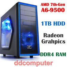 AMD A6 9500 Dual Core Computer 4GB 1TB Radeon R5 Graphics HDMI DVI Desktop PC
