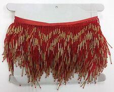 "5 Yard Bolt 6"" Red/Gold Glass Seed Bugle Beaded Fringe CHEVRON Lamp Costume Trim"