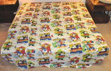 Vtg MICKEY Mouse FAIR Carnival BALLOONS Mickey DONALD Goofy LIGHT Bedspread READ