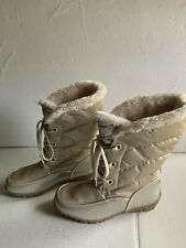 Sporto Jamie Womens Champagne White Faux Fur Lace-Up Boots 7.5W