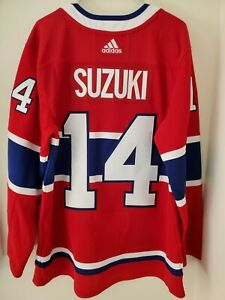 Nick Suzuki Montreal Canadiens Home Adidas Authentic Jersey Size 50 Twill Letter