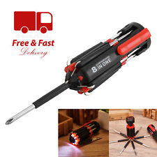 8 in 1 Screwdriver with 6 LED Torch Flash light Multi-functional Repair Tools UK