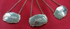 More details for vintage decanter label set x3 gin brandy whisky silver plated great gift uk