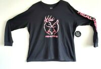 Realtree Mens/Womens Logo Long Sleeve Crew Neck T Shirt Blk/Pink 1XL NWT