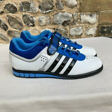 MENS ADIDAS POWERLIFT TRAINERS GYM WEIGHT SHOES UK 12 WHITE CLASSIC POWERLIFTING