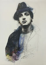 ROCKY Sylvester Stallone Hand Signed Original Painting on Canvas by John Rivoli