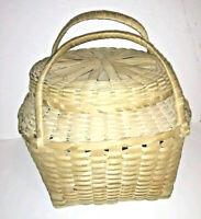 Antique Ash Storage Market Basket Hand Woven Primitive Wood Double Handled