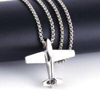 Punk Men's Women Airplane Aircraft Plane Pendant Chain Sweater Necklace Jewelry
