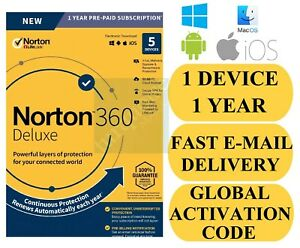 Norton 360 Deluxe 5 Device 1 Year + 50 GB Backup + Safe VPN (Global Key) 2020