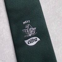 HEY CITRA CREST TIE VINTAGE RETRO CLUB ASSOCIATION COMPANY LOGO 1980s DARK GREEN