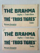 LOT 2 RARE ANCIENS BUVARDS THE BRAHMA - THE TROIS TIGRES CEYLAN INDO-CHINE