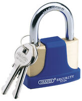 DRAPER 42mm Solid Brass Padlock & 2 Keys with Shackle and Bumper | 64165