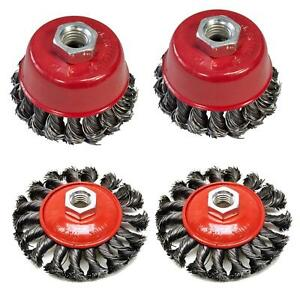 """Twist Knot Wire Wheel Cup M14 Crew Brush Sets for 4.5"""" 9"""" Angle Grinder 4"""" 3"""