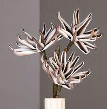 Foam Flower weiß braun Länge 83 Cm Kunstblume 3 Blüten