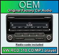 VW RCD 310 CD MP3 player, VW Transporter T5 car stereo headunit, with radio code