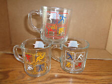 3 - Different Vintage-  1984 McDonalds Olympic Glass Coffee Mugs