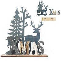 Elk Xmas Tree Wooden Ornaments Christmas Party DIY Crafts Decor Home Garden NEW