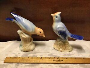 "Pair Of Vintage 5"" Blue/Apricot Ceramic Bird Figurines"