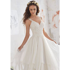 2018 New White/ivory Fluffy Chiffon Wedding dress Bridal Gown Stock Size 4--16W