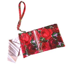 Rose Print Neoprene Squeeze Top Eyeglasses  Wristlet Carry Case Cleaning Cloth