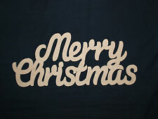 Merry Christmas Unpainted MDF Plaque Wooden Script Words Decorative Letter Sign