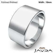 Wedding Band 10mm Flat Pipe Cut Platinum 950 Women Plain Ring 14gram Size 6-6.75