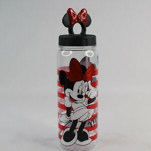 Disney Store Minnie Mouse Water Bottle Screw On Bow Top Tumbler Striped Red Blk