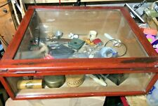 More details for small vintage wood and glass shop display cabinet 16x 17 ins.
