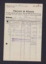 WERNIGERODE, Rechnung 1940, Meyer & Klaus Tabakwaren-Grosshandlung