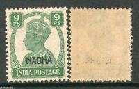 India Nabha State 9ps KG VI Postage Stamp SG 107 / Sc 102 Cat £3 MNH