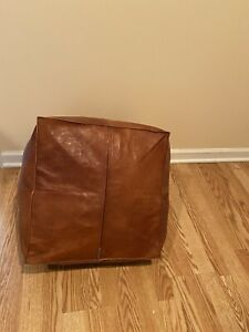 Authentic Moroccan Square Ottoman Leather Poof