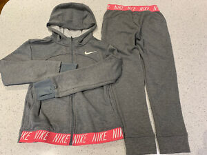Girls Nike Grey Pink Dri-fit Tracksuit Age 10-13