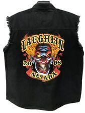 Laughlin Thunder On The Strip 2008 Mens Black Biker Denim Sleeveless Shirt  L