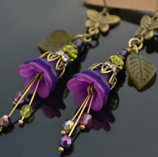 Unique Victorian Antique Style Glass Purple Lucite Flower Butterfly Earrings