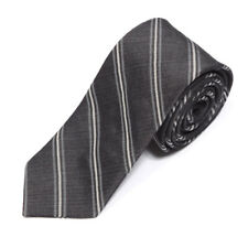 New BROOKS BROTHERS RED FLEECE Gray Striped Men's Silk Skinny Neck Tie NWT