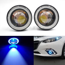 "Pair 3.5"" Inch Car Projector LED Fog Light COB Halo Angel Eye Ring Bulb Ice Blue"
