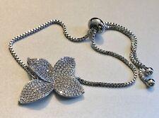 18K White Gold Flower Leaf Adjustable Bracelet made w/ Swarovski Crystal Stone