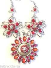 ❤️Snap Chunk Jewelry Gift Set! ~Rhinestone Earrings & Pendant🌹w/ 3 Charms USA❤️