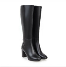 Ladies Chunky Heels Combat Military Knee High Boots Side Zipper Shoes Plus Size